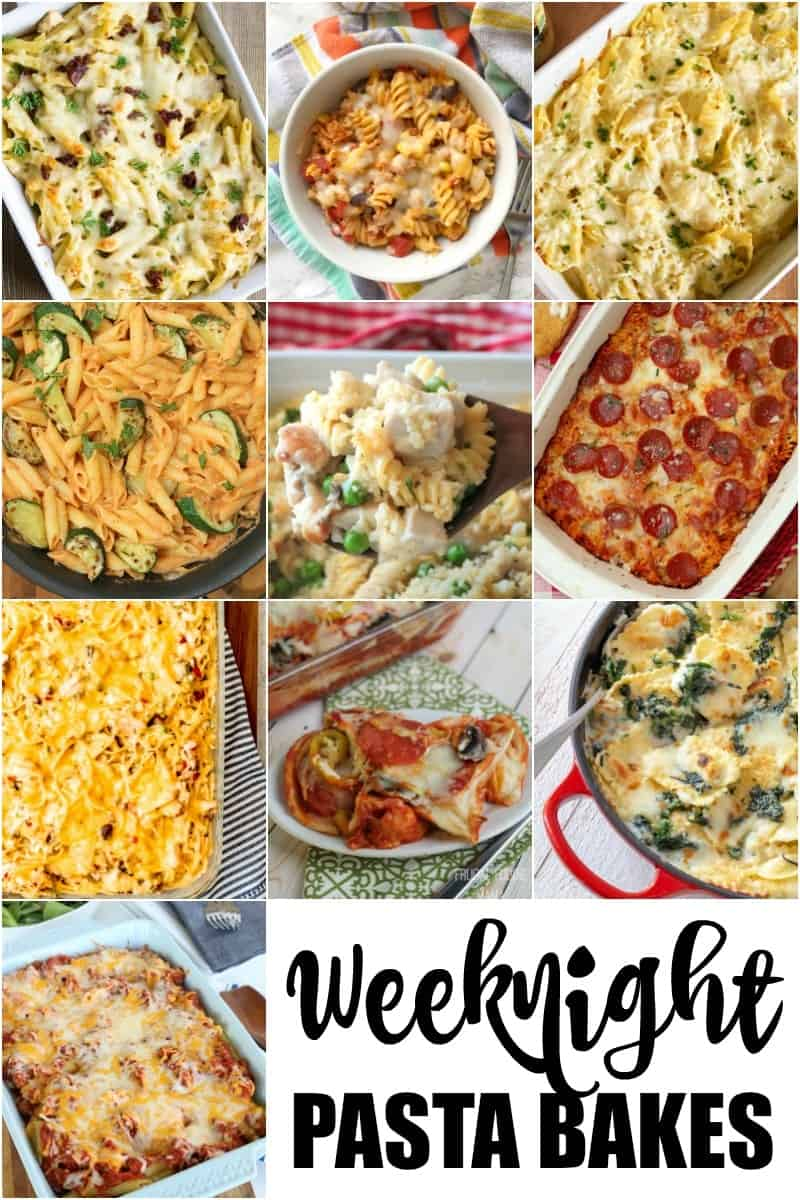 A collage of weeknight pasta bake casseroles.
