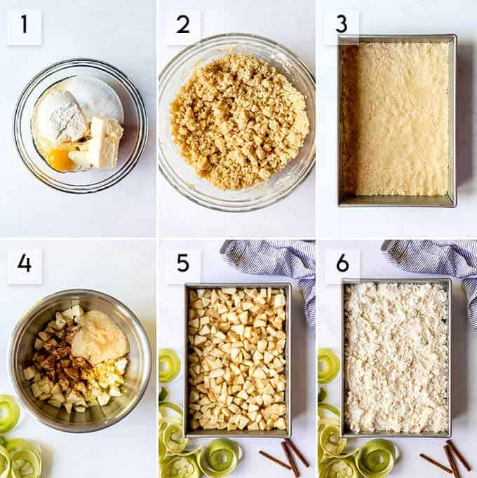 An image of a collage of step-by-step photos for making German apple cake.
