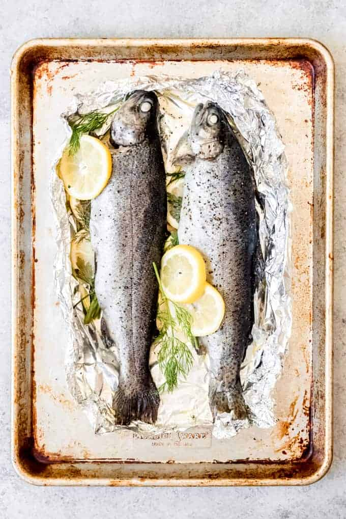 An image of two whole rainbow trout on foil with sliced lemon and herbs.