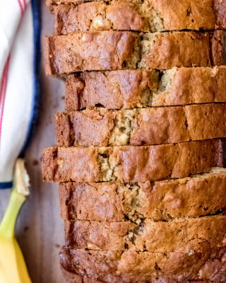 An image of a loaf of homemade banana bread.