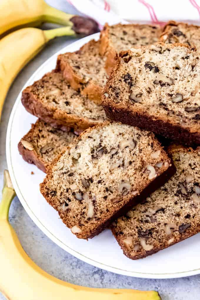 An image of a plate of sliced banana walnut bread.