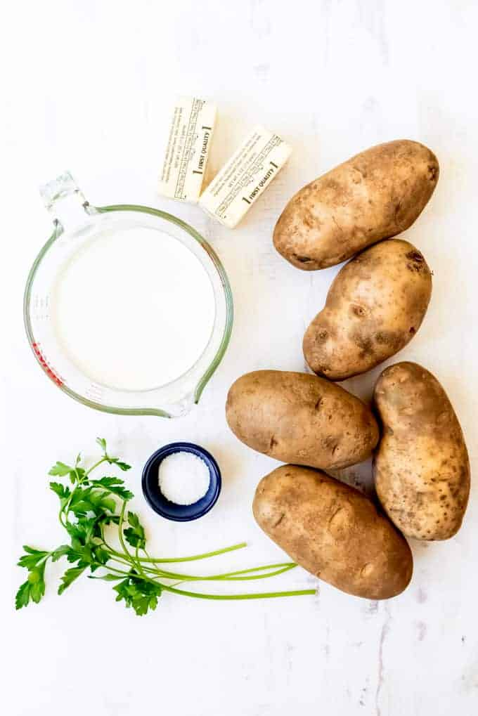 An image of the ingredients for making homemade mashed potatoes.