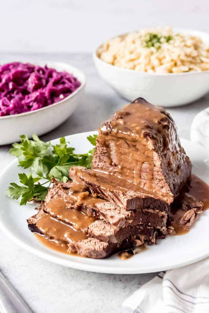 An image of German sauerbraten on a plate.