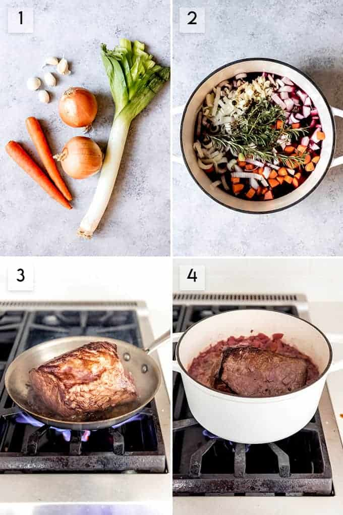 A collage of images showing step by step how to make authentic German sauerbraten.