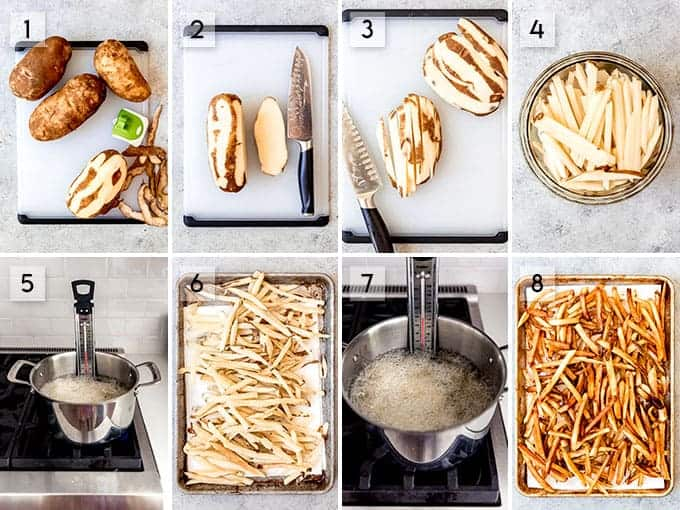 A collage of images showing step-by-step how to make french fries.