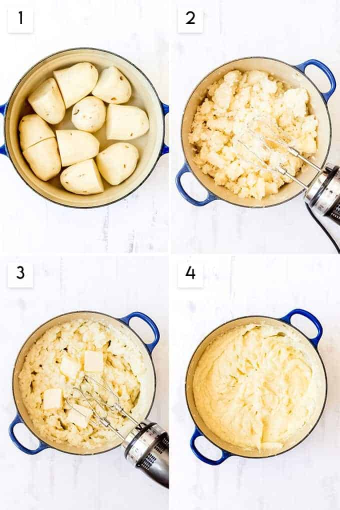 A collage of images showing how to make mashed potatoes.