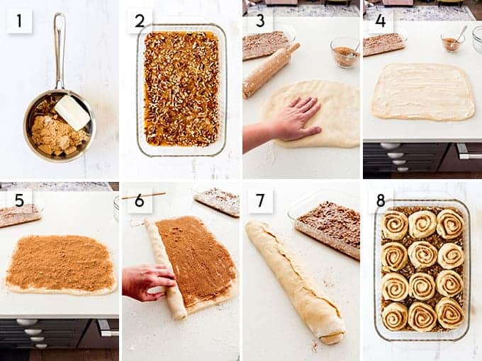 A collage of images showing how to shape caramel pecan rolls by rolling out the dough, spreading with butter, and sprinkling with cinnamon and sugar.