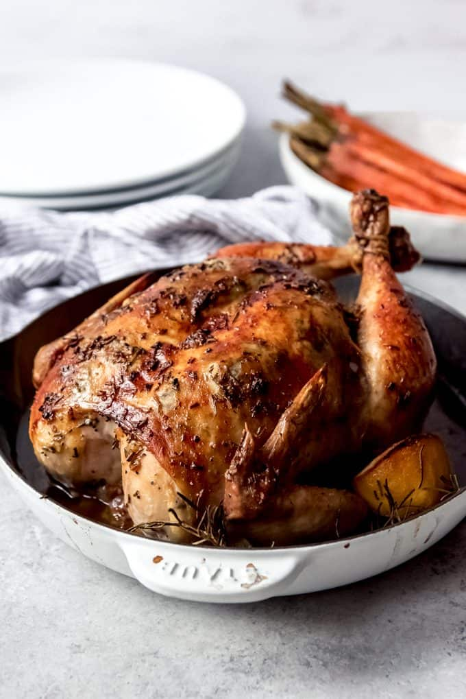whole roasted chicken in shallow dutch oven
