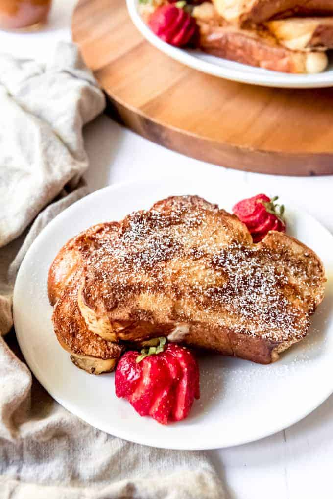 An image of french toast dusted with powdered sugar.