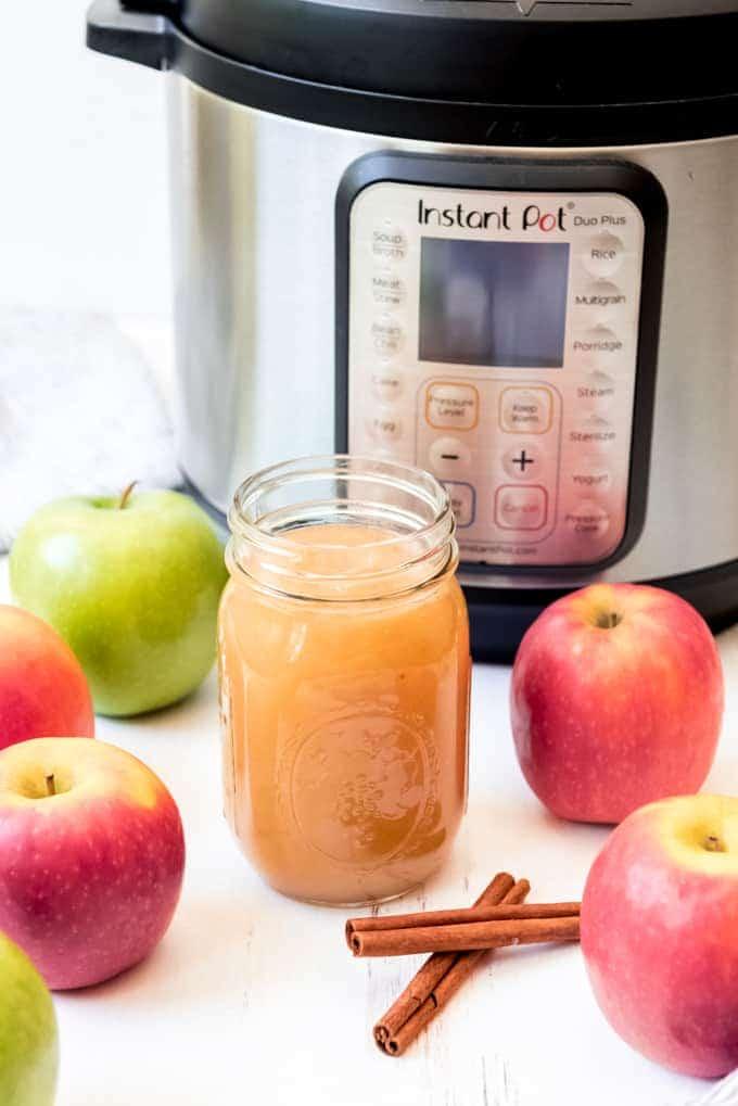 An image of a jar of homemade instant pot applesauce.