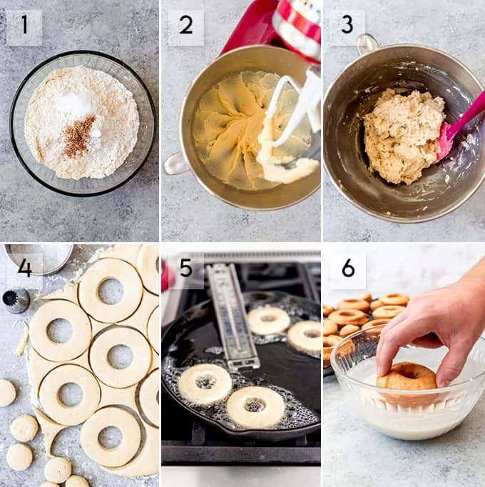 A collage of images showing how to make old-fashioned doughnuts.