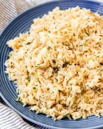 An image of a large plate of homemade rice pilaf.