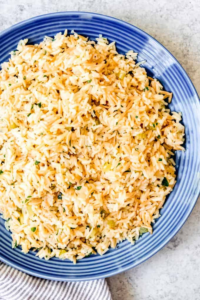 An image of a large plate of fluffy, savory rice pilaf.