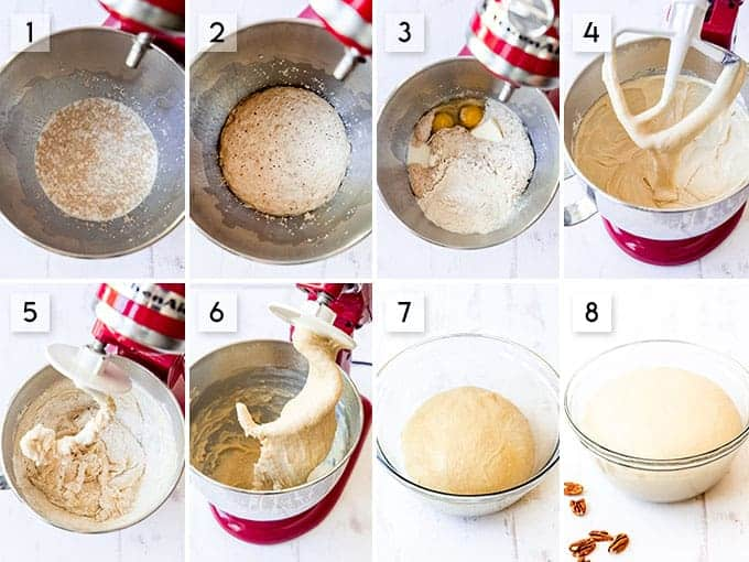 A collage showing the steps for making a soft sweet dough for caramel pecan sticky buns.
