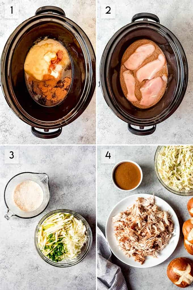 A collage of images showing steps for how to make slow cooker applesauce pulled chicken sandwiches.