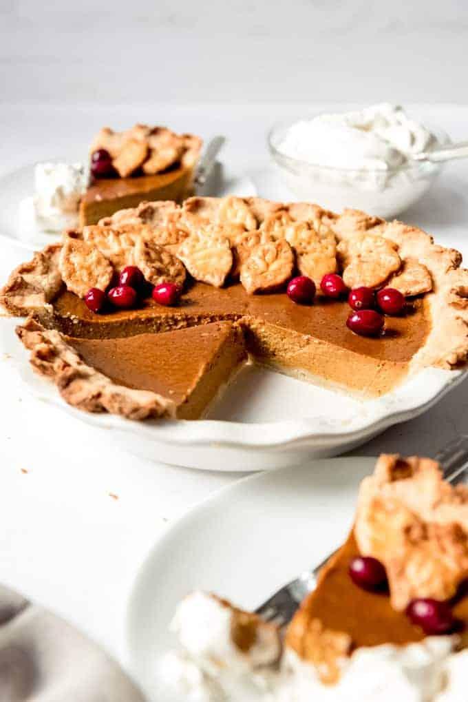 An image of a pumpkin pie from scratch.