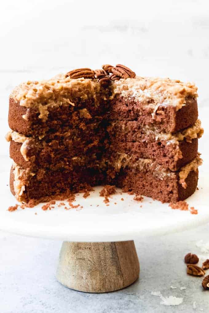 An image of a partial German chocolate cake made from scratch.