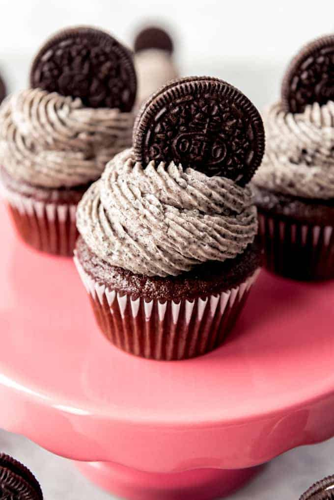 An image of chocolate cookies and cream cupcakes.