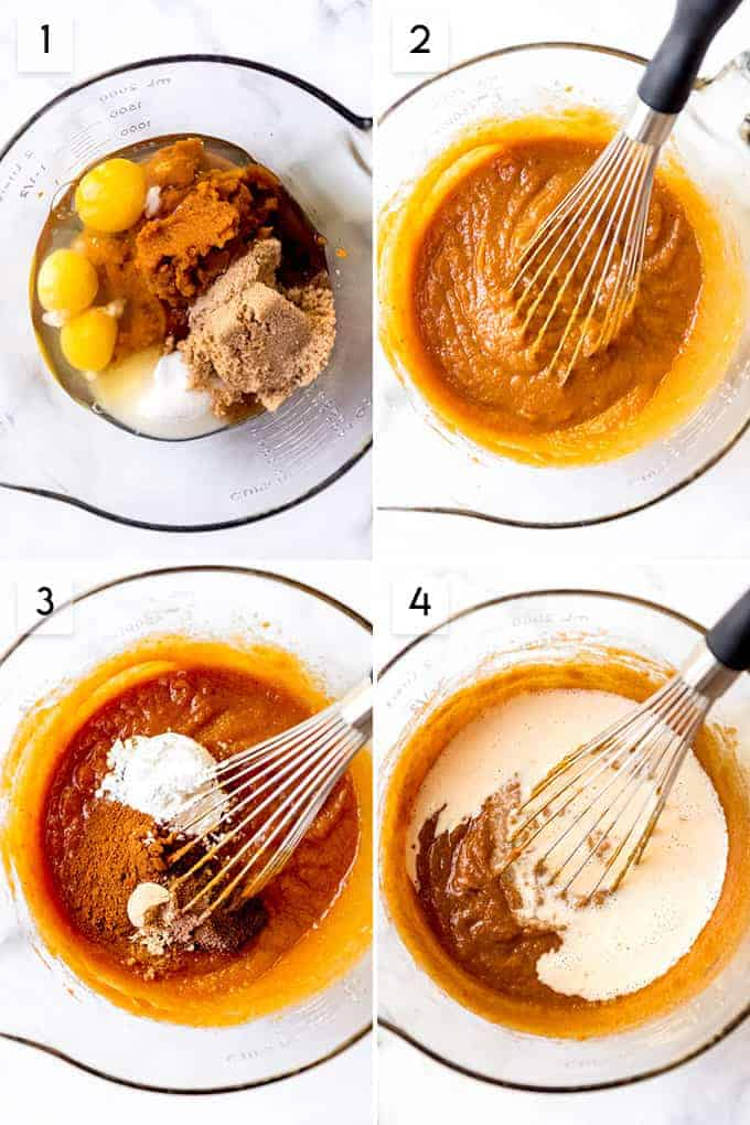 An image of the steps for how to make pumpkin pie.