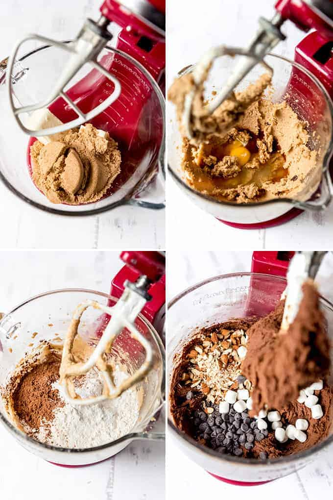 A collage of images showing how to make rocky road cookie dough.