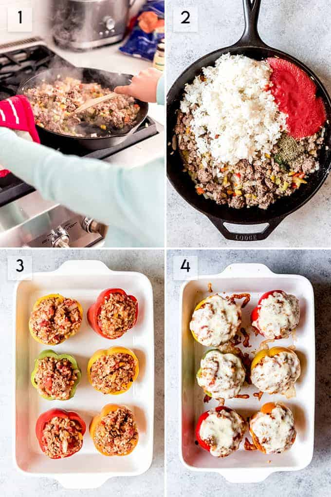 A collage of images showing how to make stuffed bell peppers.
