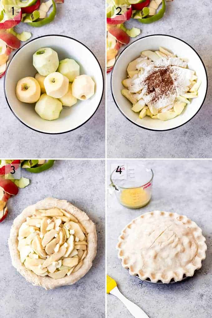 A collage of images showing the steps for how to make apple pie.