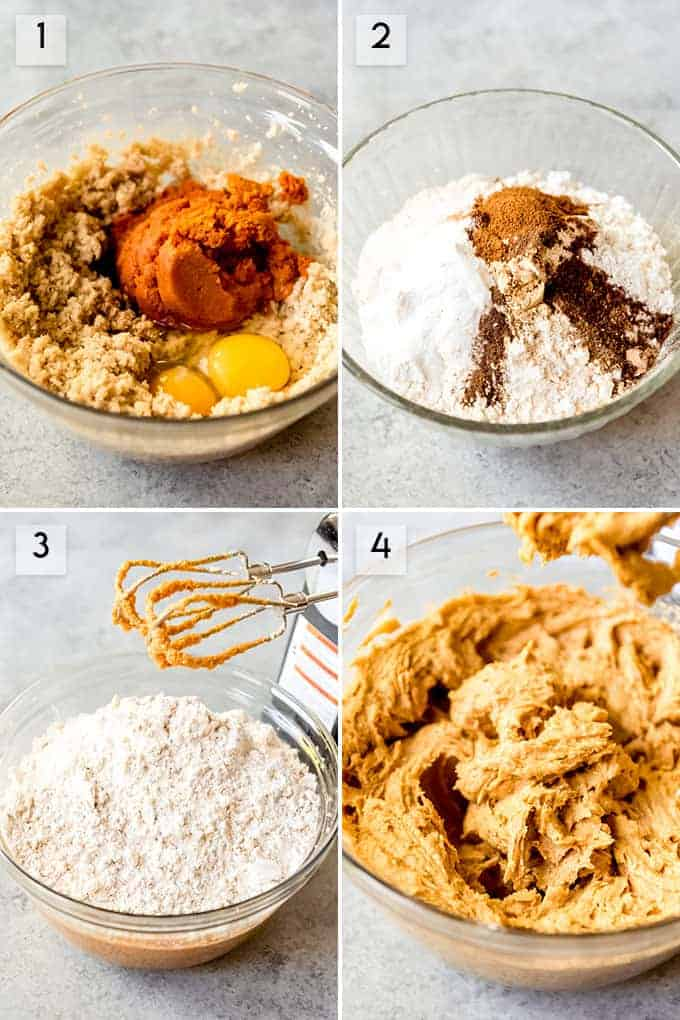 A collage of images showing how to make pumpkin cookies.