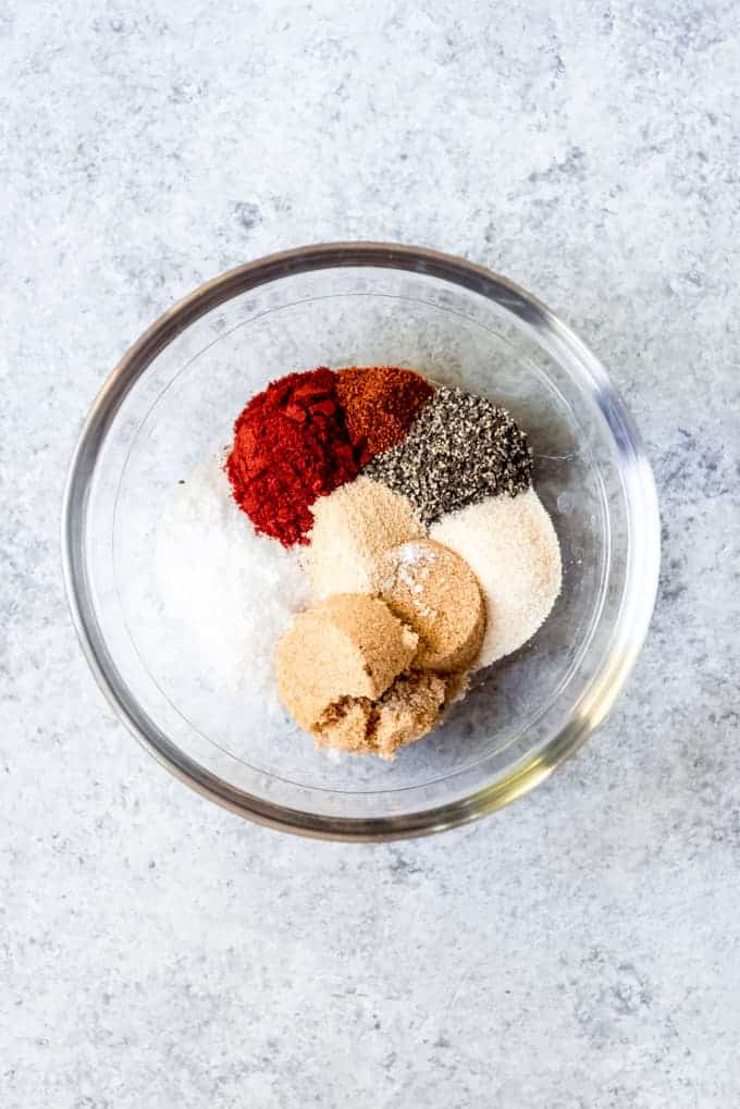 An image of spices and brown sugar in a bowl to create a turkey rub.
