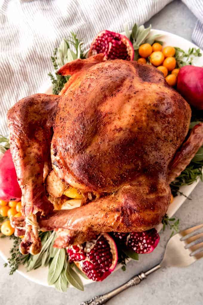 An image of a bacon roasted Thanksgiving turkey.