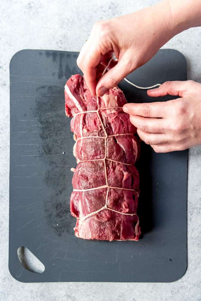 An image showing how to tie a beef tenderloin roast.