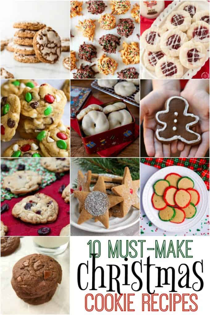 A collage of images showing 10 must-make Christmas cookie recipes.