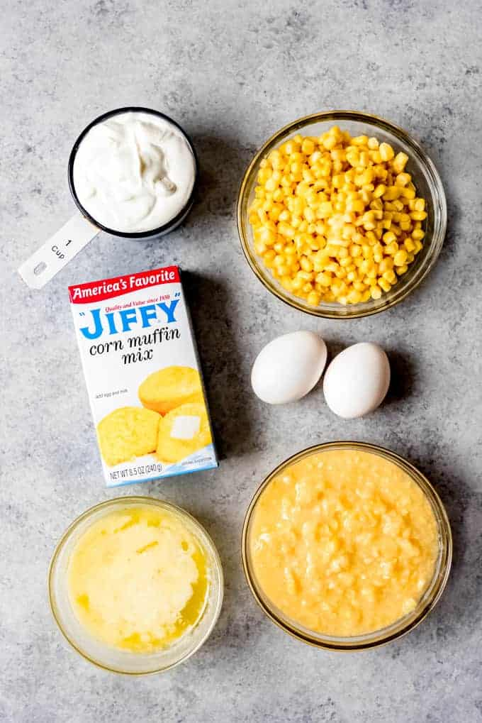 An image of the ingredients for making Jiffy corn casserole.