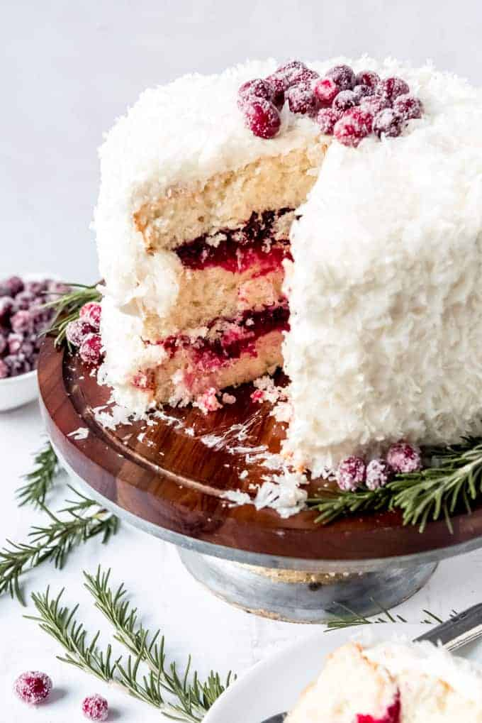An image of a cranberry coconut layer cake.
