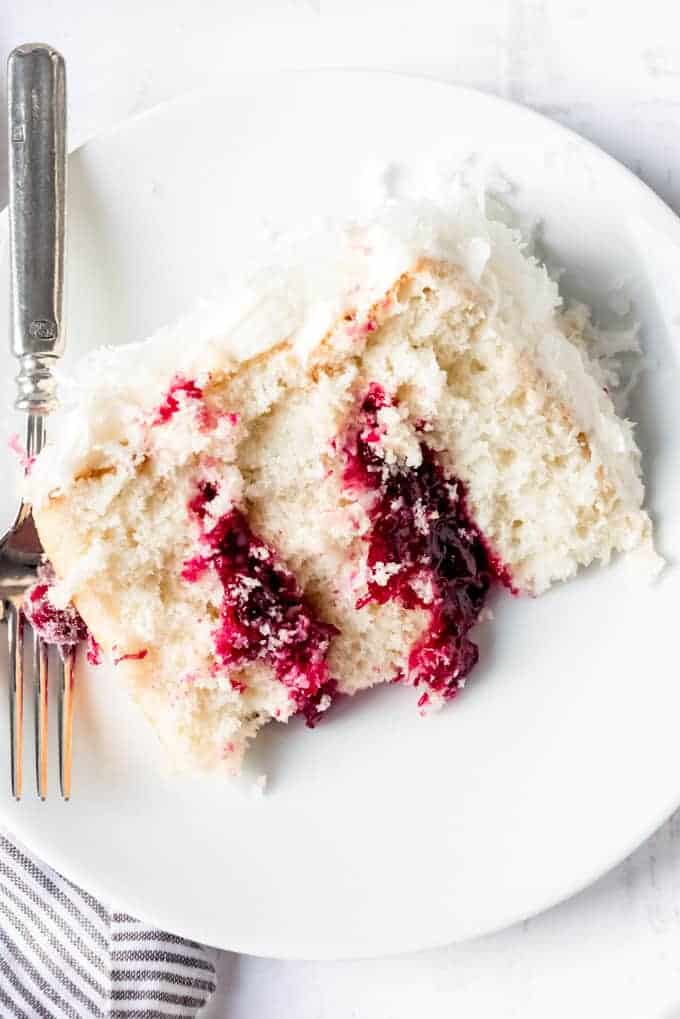 An image of a slice of cranberry coconut on a plate.