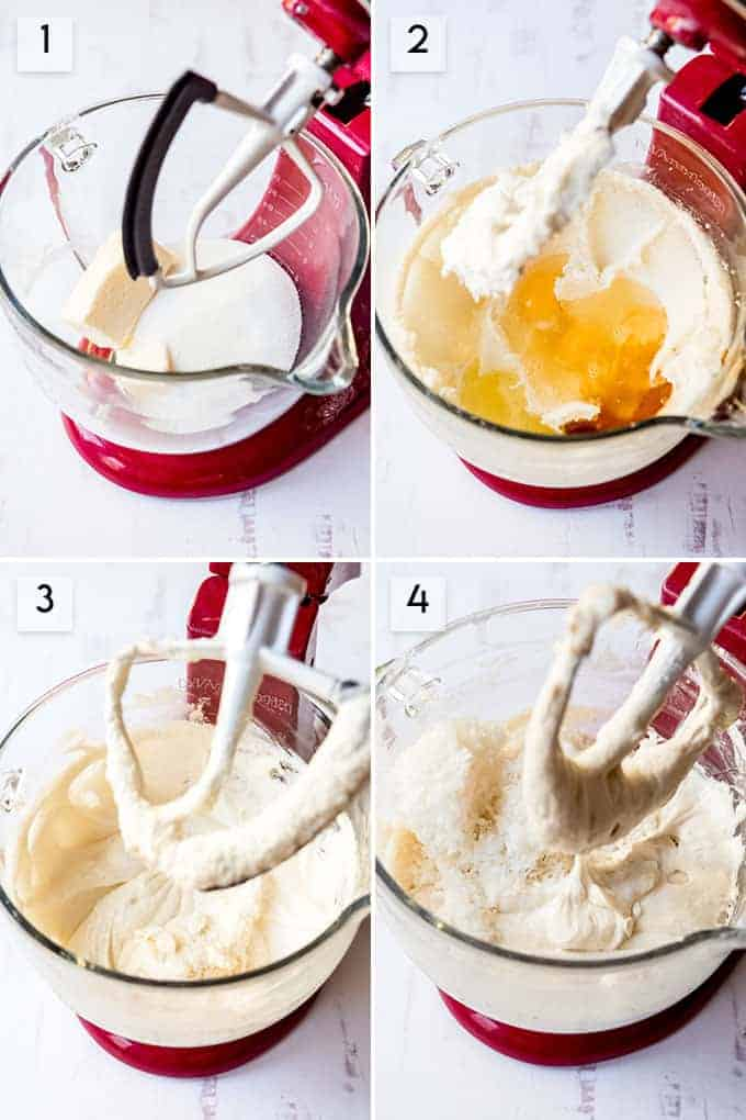 A collage of images showing step-by-step how to make coconut cake batter.