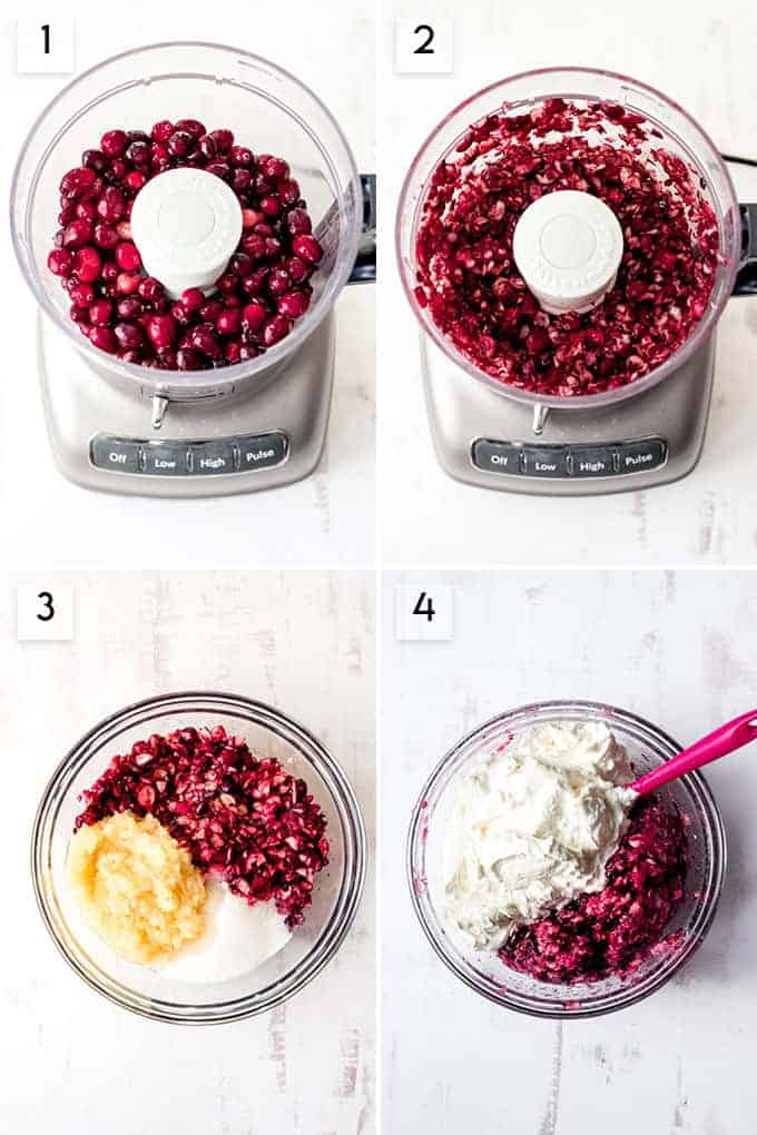 A collage of images showing the steps for how to make cranberry fluff salad.