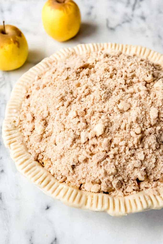An image of a dutch apple pie before it has been baked.