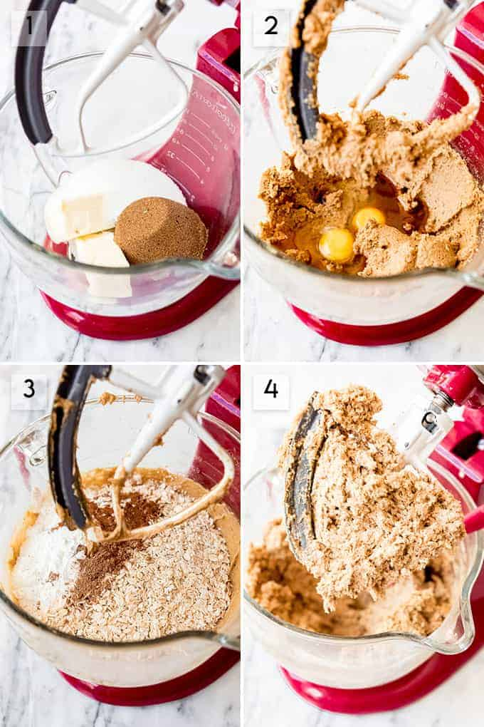 A collage of images showing the steps for how to make iced oatmeal cookies.