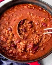 An image of a large pot of homemade chili.