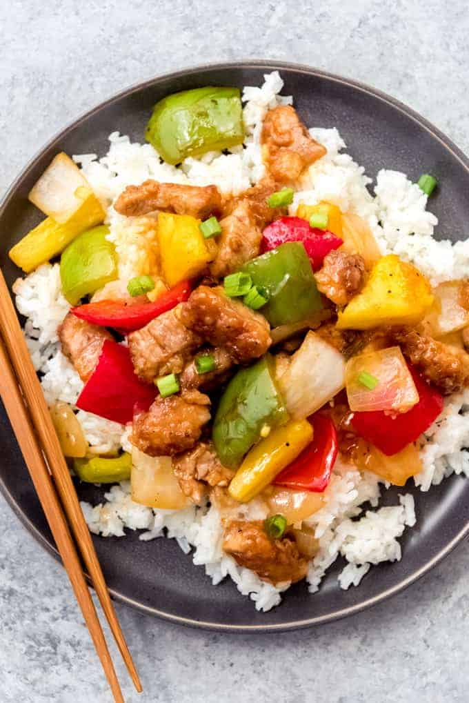 An image of a plate of homemade sweet and sour pork.