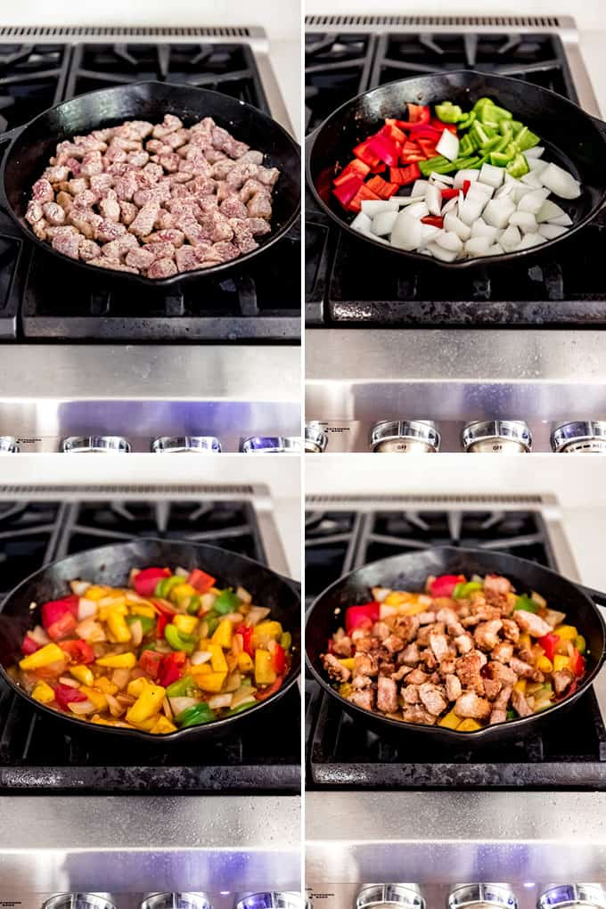 An image showing how to make sweet and sour pork in a cast iron skillet on the stovetop.