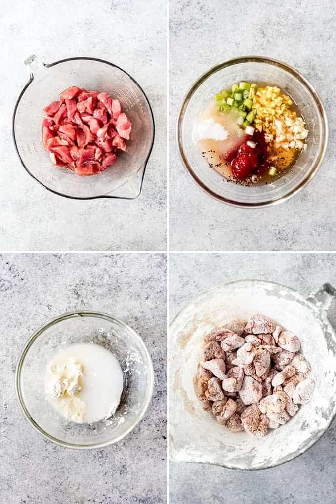 A collage of images showing the steps for how to prep the meat and sauce for sweet and sour pork.