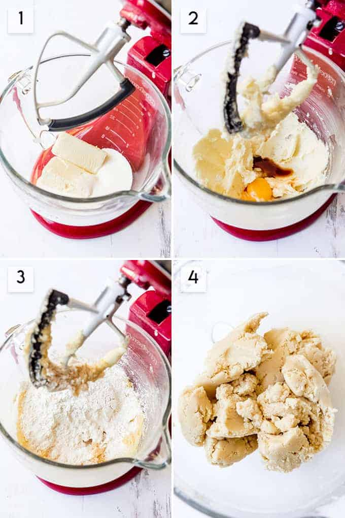 A collage of images showing how to make thumbprint cookie dough.