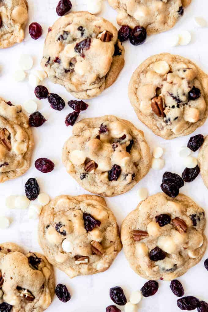 Cookies with white chocolate chips and dried cranberries.