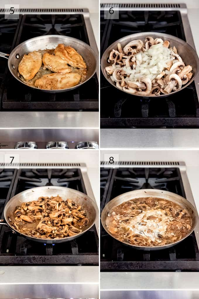 A collage of images showing the steps for how to make chicken marsala on the stovetop.