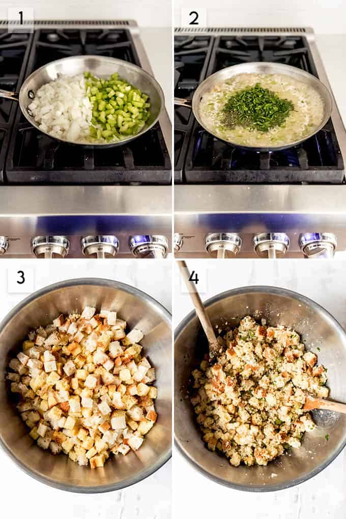 A collage showing the steps for how to make cornbread dressing.