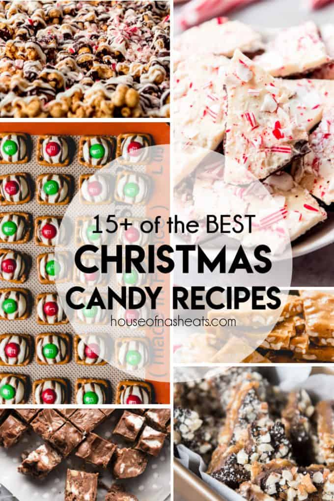 A collage of images of homemade Christmas candies.