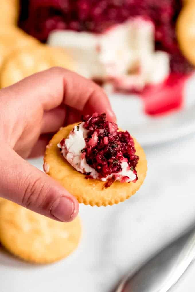 An image of a hand holding a Ritz cracker topped with cream cheese and cranberry salsa.