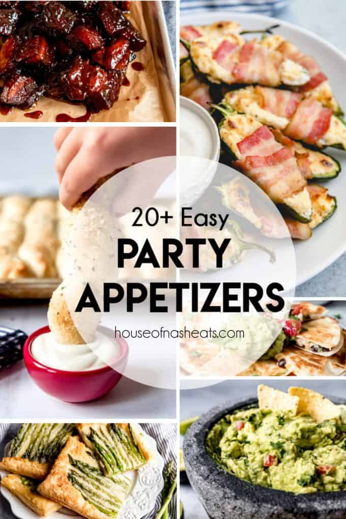 A collage of images showing easy party appetizers for a crowd.
