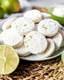 An image of lime meltaway cookies on a plate.